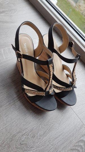 Super Me Sandalo alto con plateau nero-oro