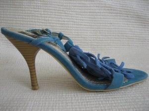sandalen punps neu gr. 38 blau wildleder jumelles