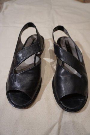 Sandalen met bandjes zwart Leer