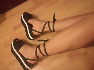 American Apparel High-Heeled Sandals white-black leather