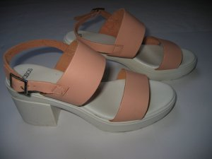 Sandalen Sandaletten Riemchen Blockabsatz Gr. 38 rosa weiß ASOS