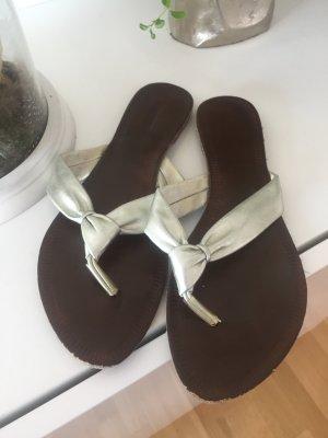 Sandalen Schlappen Silber braun Gr 39