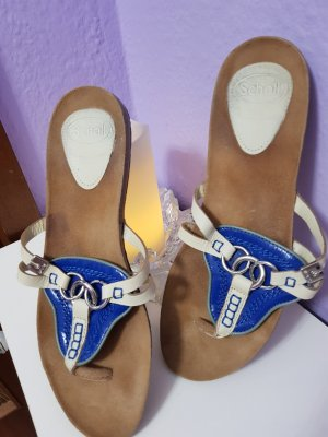 Sandalo toe-post blu-bianco Pelle