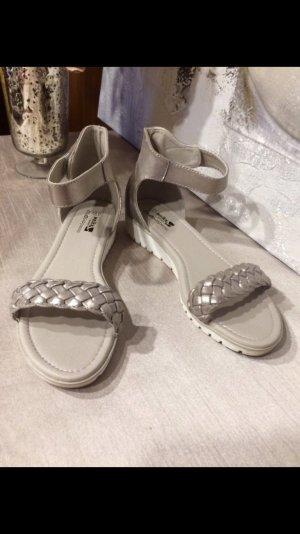 Sandalen Schuhe Größe 41 Glitzer metallic Silber Gold Look