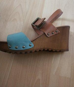 Sandalen Schuhe Keilabsatz braun hellblau 39 Echtleder
