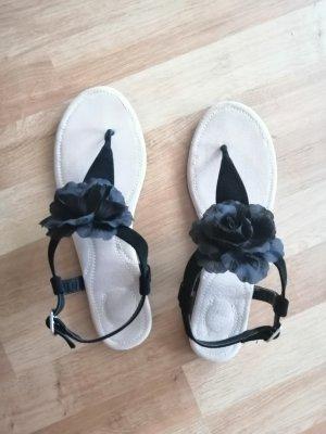 Sandalen schwarz Blumen Riemchen Sandaletten Zehentrenner 41 42