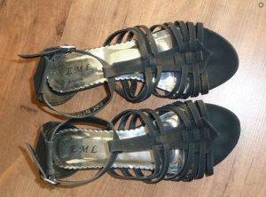 Sandalen, schwarz, Keilabsatz, Gr. 40