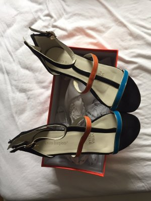 Sandalen schwarz orange blau Laura Biagotto Gr 37