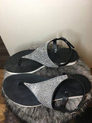 Sandalen schwarz | silber