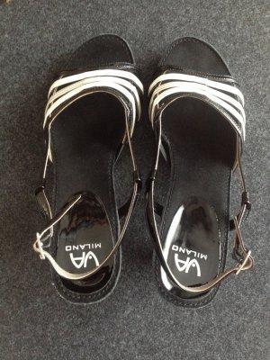 Sandalen schwarz-weiß von Via Milano Damen, Größe 5,5