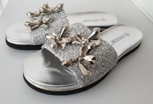 High-Heeled Toe-Post Sandals silver-colored