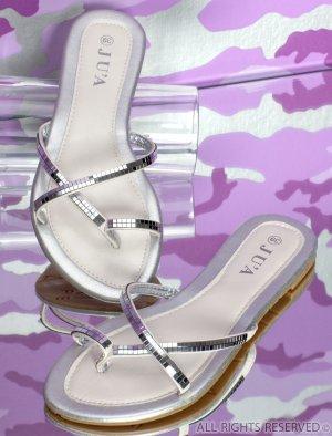 Sandalen silber Glitzer Flip Flops