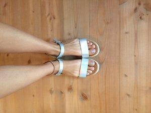 Plateauzool sandalen lichtgrijs-wit Leer