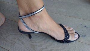 Sandalen silber schwarz Riemchen Glitzer