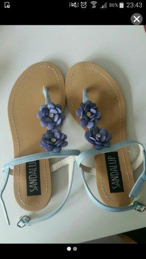 Sandalen Sommer Blumen Blau Gr. 36 NEU