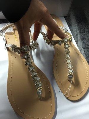Sandalen Sommer Schuhe Zehentrenner Gold