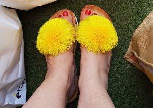 Sandalen/Strandschlapfen mit gelbem Pompom # Grösse D 40.5 - 41