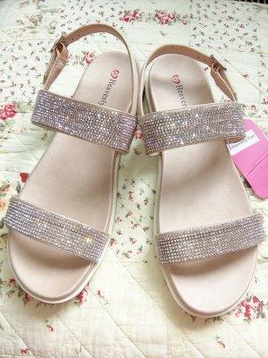 Sandalen Strass Rosé*Nude Heavenly Feet Gr 41