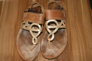 Esprit T-Strap Sandals yellow-brown leather