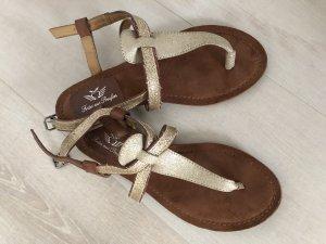 Fritzi aus preußen Flip-Flop Sandals brown-gold-colored