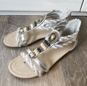 Graceland Sandalias con talón descubierto color plata Imitación de cuero
