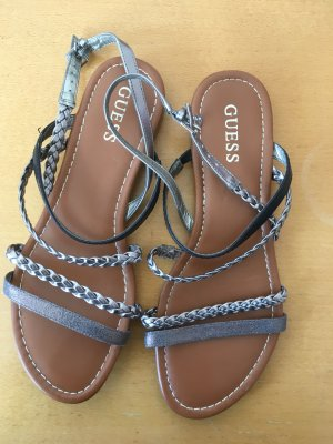Guess Strapped Sandals silver-colored-black