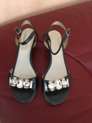 Sandalias de tiras azul-color plata