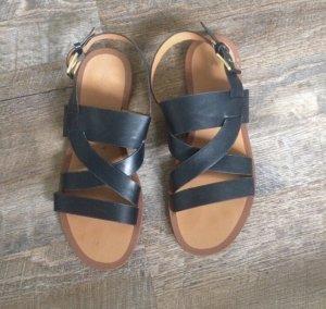 H&M Sandalias romanas negro-marrón