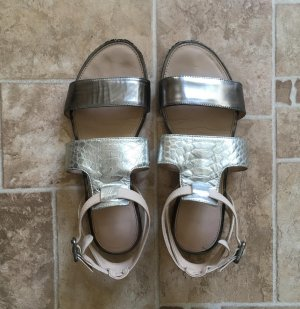 Jb martin Roman Sandals oatmeal-silver-colored leather