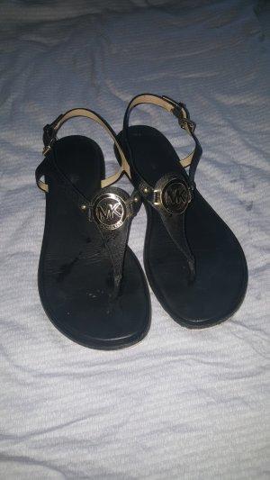 Michael Kors Toe-Post sandals black-gold-colored
