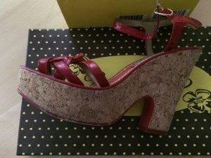 Platform Sandals red leather