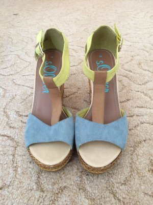 s.Oliver High Heel Sandal lime yellow-cornflower blue