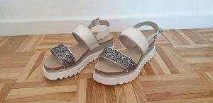 clinic+job dress Sandalo alto con plateau bianco-argento