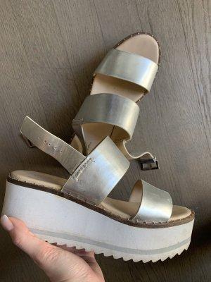 Zara Sandalo con plateau argento-bianco