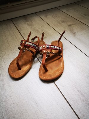 Young Spirit High-Heeled Toe-Post Sandals brown-cognac-coloured