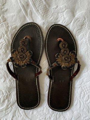 Toe-Post sandals dark brown-brown
