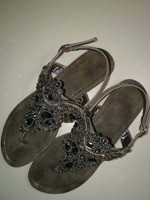 Toe-Post sandals anthracite-silver-colored