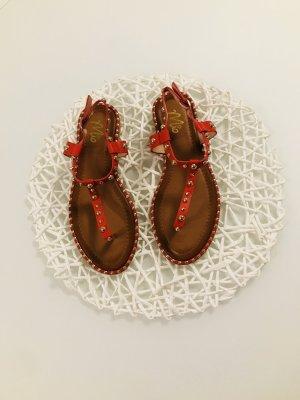 Sandalen Zehentrenner Nieten gold rot Damen