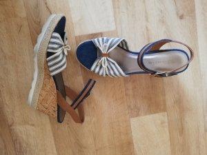 Tamaris Wedge Sandals natural white-slate-gray