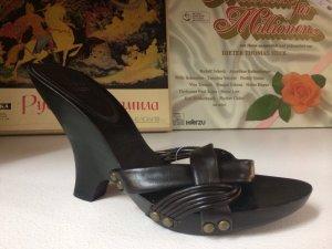 Sandalette aus Holz und Leder NEU
