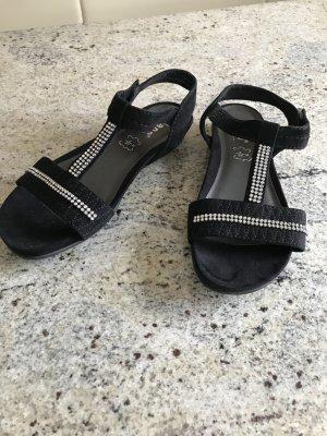 Jana Strapped High-Heeled Sandals black leather
