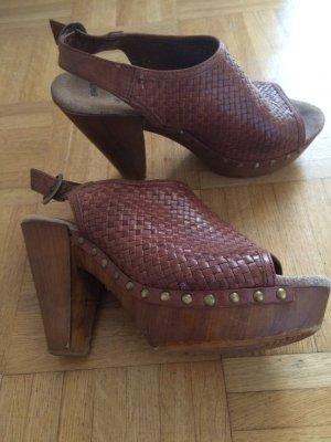 Sandalette , Clocks, Leder peeptoe , 37,Sommer Schuh