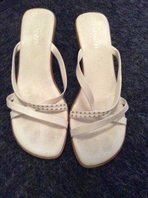 Sandalette Gr. 39 weiß Strasssteinchen