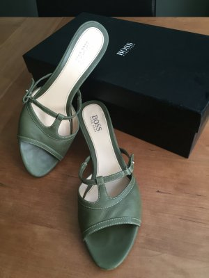 Hugo Boss High-Heeled Sandals khaki leather