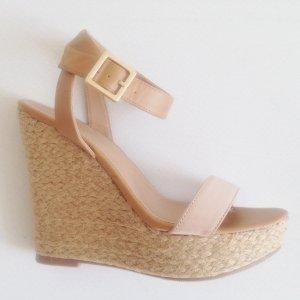 Sandalette, Keilabsatz, geflochten, Nude/ Camel, Größe 38