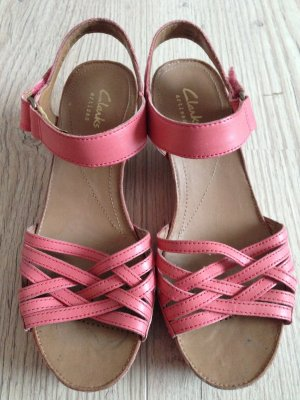 Sandalette Keilsandalette rosa von Clarks Leder Gr 37
