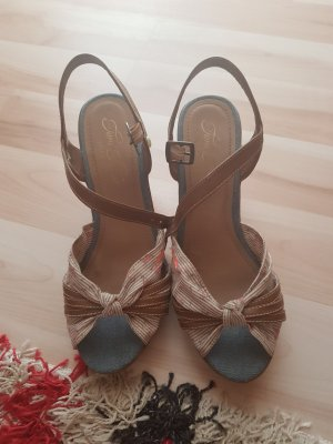 Tom Tailor Wedge Sandals brown-oatmeal