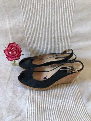 Sandalette mit Keilabsatz Sommer Akira Größe 40 dunkelblau blau