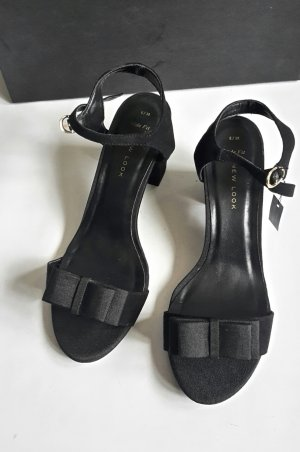 New Look Strapped High-Heeled Sandals black textile fiber
