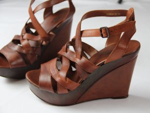 Cox Platform High-Heeled Sandal cognac-coloured-russet imitation leather
